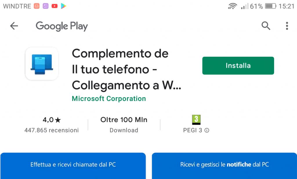Gestire un telefono con PC Windows 10