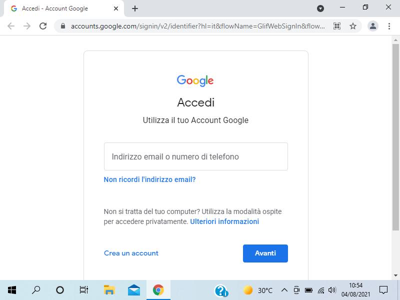 Crea account Google